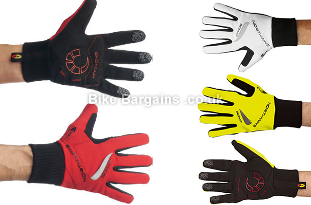Northwave Power Winter Full Finger Gloves L,XXL, Black, Red, White, Yellow, Full Finger, Synthetic Leather