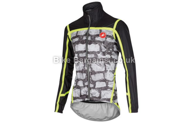 Castelli Pave Jacket S, Black, Grey, Yellow, Men's, Long Sleeve, 189g