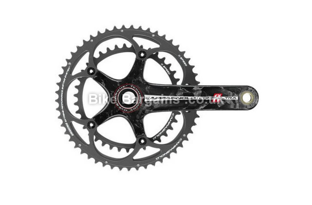 Campagnolo Comp One Over Torque Road 11 Speed Chainset 170mm, Black, Carbon, 11 speed, Double Chainring, Road, 605g