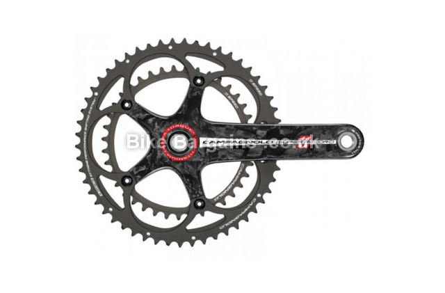 Campagnolo Super Record TI Road 11 Speed Chainset 177.5mm, Black, Carbon, 11 speed, Double Chainring, Road, 585g