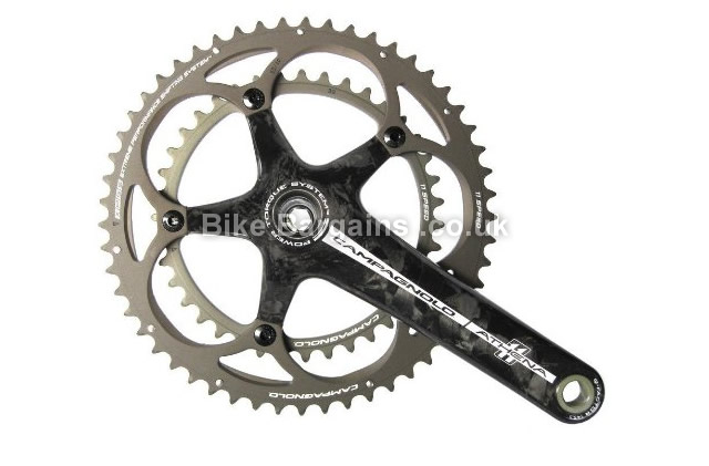 Campagnolo Athena Carbon 11 Speed Chainset 175mm, Black, Carbon, 11 speed, Double Chainring, Road, 736g