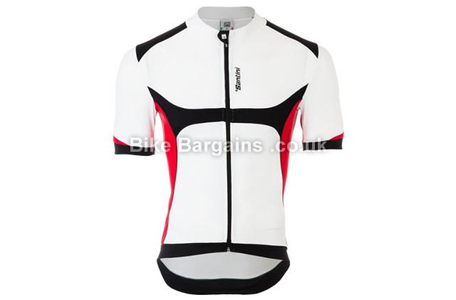 Santini Heat Sink SYS White Road Cycling Jersey L Black, M, XL in White