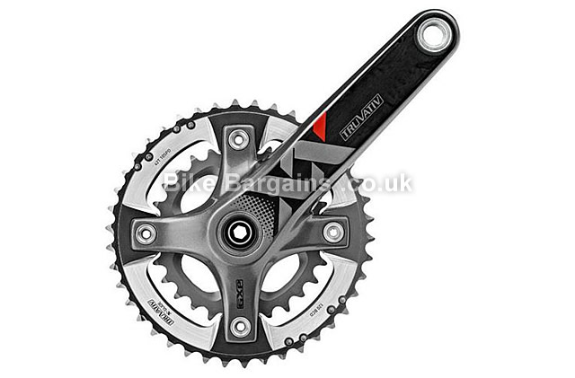 SRAM XX 10 Speed Carbon Alloy Chainset 170mm, Black, Alloy, Carbon, 10 speed, Double Chainring, MTB, 754g