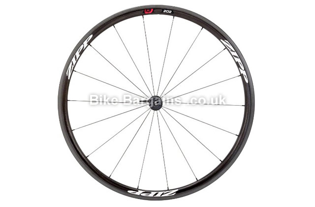 Zipp 202 Firecrest Carbon Clincher 18 Spoke Front Road Wheel front, black