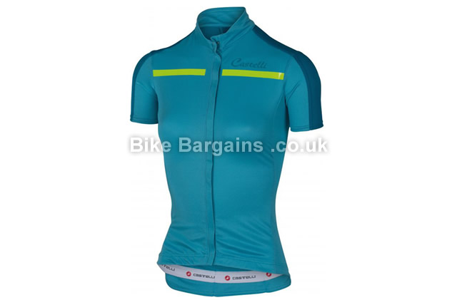 Castelli Ladies Ispirata Short Sleeve Cycling Jersey Blue, Green, XS