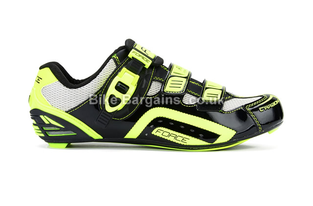 Force Race Black Carbon Cycling Shoes 39, Black, Yellow