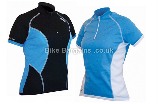 Lusso Ladies Coolmax Short Sleeve Jersey L,XL, White, Black