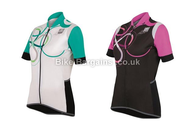 Santini Anna Print Ladies Short Sleeve Cycling Jersey L, pink,black