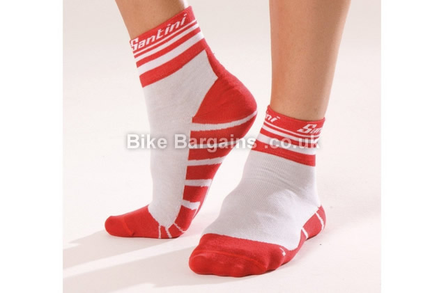Santini Dry Cycling Socks XS, S, red, white