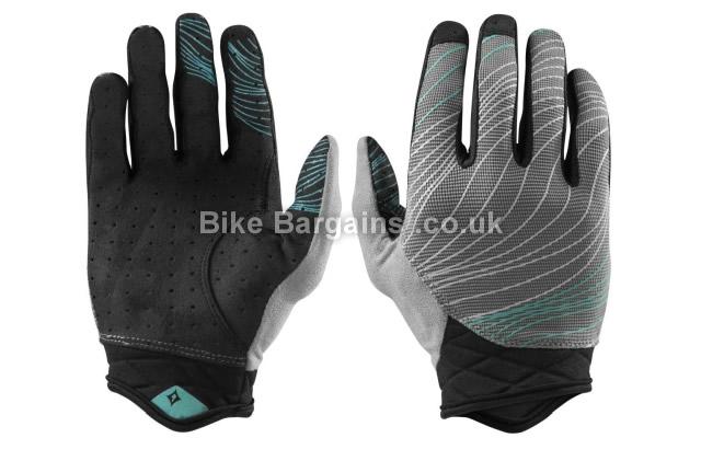 Specialized Ladies Lodown BG Carbon D4W Full Finger Gloves 2017 L,XL, Grey, Turquoise, Full Finger