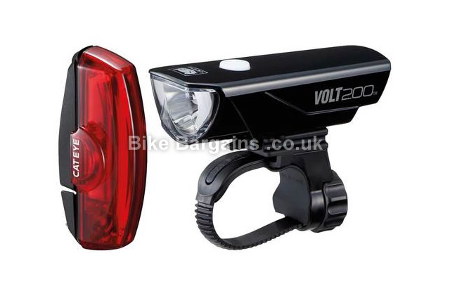 Cateye Volt 200 Lumens Rapid X USB Rechargable Cycle Light Set black