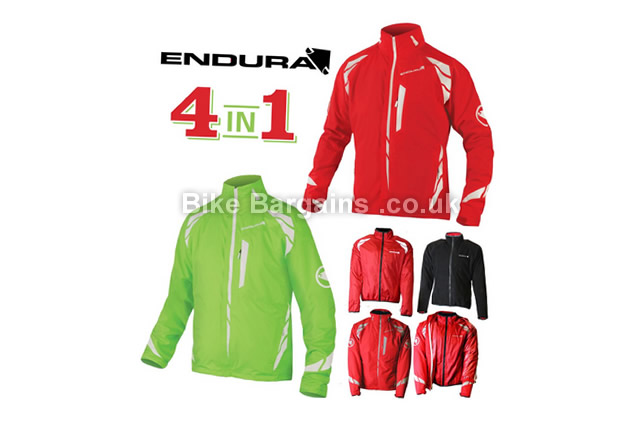 Endura Luminite 4 In 1 Windproof Waterproof Jacket red, L