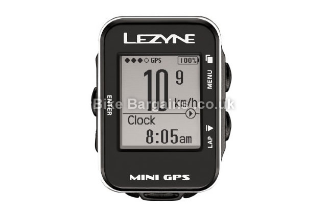 Lezyne Mini GPS Black Cycling Computer 10 hours battery