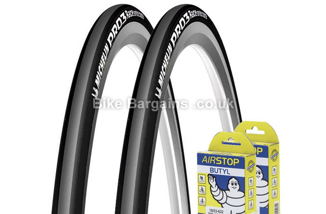 Michelin Pro 3 Race Road Tyres with Tubes 23c, 25c, 700c, grey