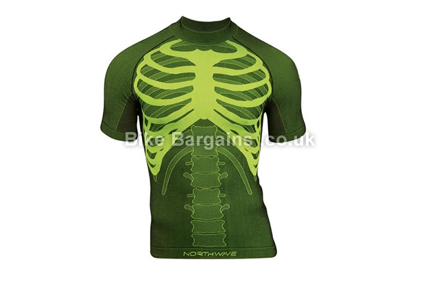 Northwave Body Fit Skeleton Short Sleeve Base Layer S,M,L,XL, black green, white