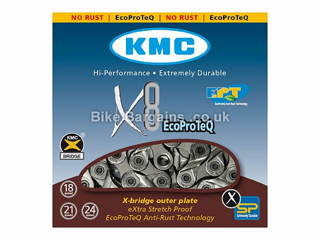 KMC X8 Ept 8 Speed Bike Chain Silver, 8 Speed, 116 Links