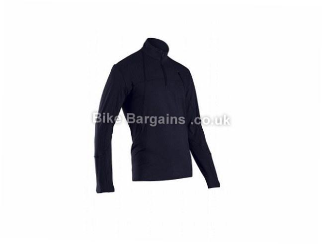 Sugoi Titan Core Zip Wicking Long Sleeve Tee L, black, blue