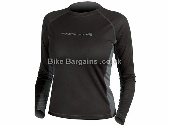 Endura Ladies Long Sleeve Pulse Base Layer S,M,L,XL, Black, Red