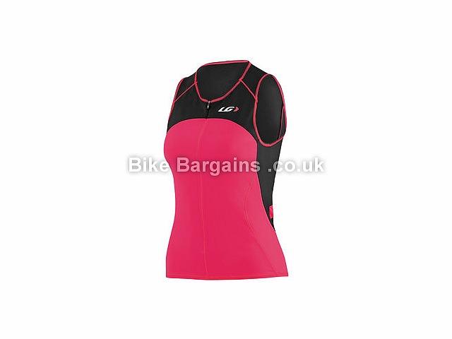 Louis Garneau Ladies Comp Sleeveless Hydrodynamic Triathlon Top Black, Pink, S