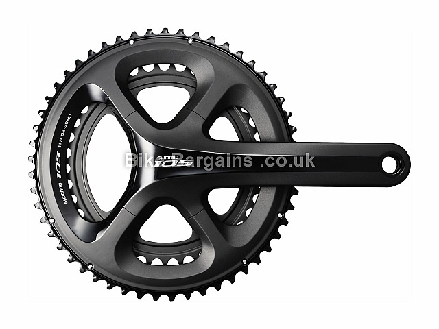 Shimano 105 5800 11 Speed Road Bike Chainset 175mm, Black, Silver, Alloy, 11 speed, Double Chainring, Road, 737g
