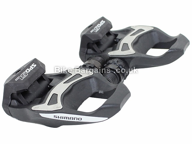 Shimano R550 SPD-SL Road Pedals 310g per pair, Black, Grey entry level pedals