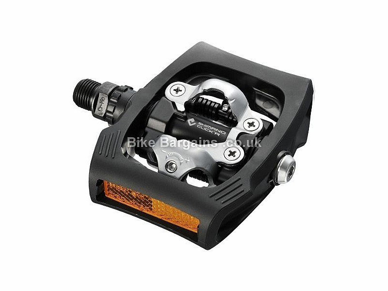 Shimano T400 Click'R Beginner SPD Road MTB Pedals 507g, Light spring, platform, Black, White