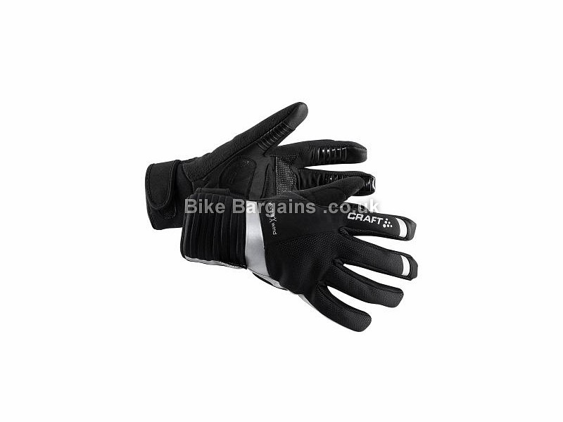 Craft Shield Wind Waterproof Gel Full Finger Gloves S, Black, Full Finger, Fleece, Gel, Velcro