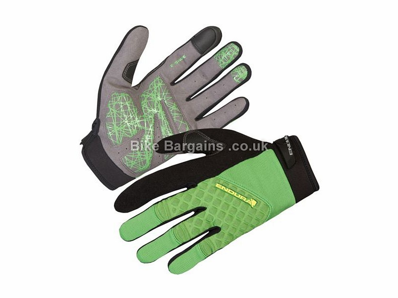 Endura Hummvee Plus MTB Full Finger Gloves 2016 S, Black, Green, Full Finger, Gel, Neoprene, Nylon, Polyester, Synthetic Leather, Velcro