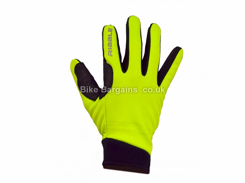 Ribble Gel Fleece Full Finger Gloves L, Black, Yellow, Full Finger, Fleece, Gel