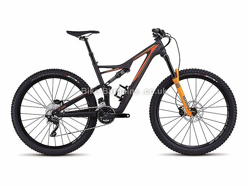 "Specialized Stumpjumper FSR Comp 27.5"" Carbon Full Suspension Mountain Bike Frame 2016 S, Black, Orange, 27.5"", Carbon, Full Sus"