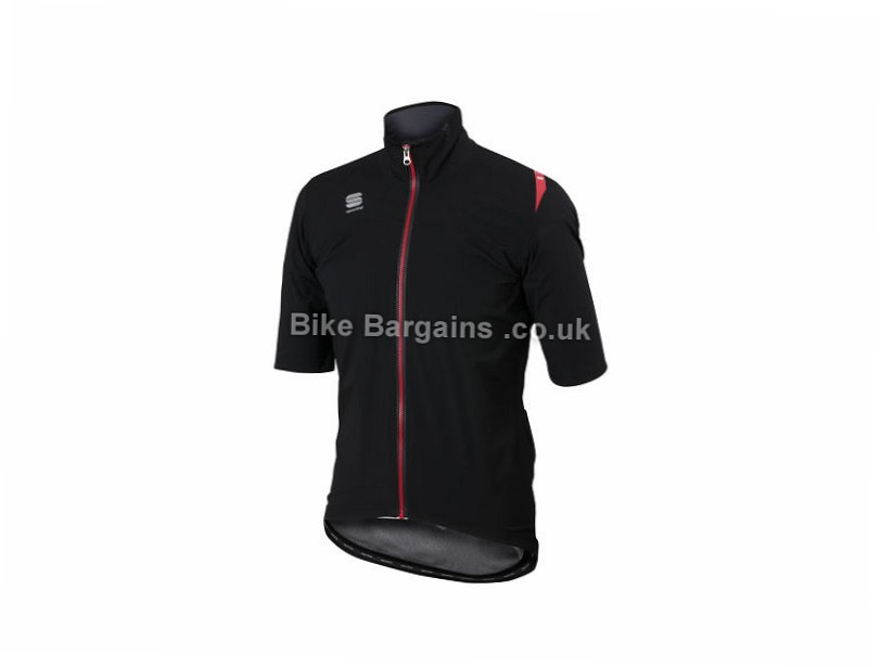 Sportful Fiandre Windstopper Light Rain Resistant Short Sleeve Jacket S, Black, Red