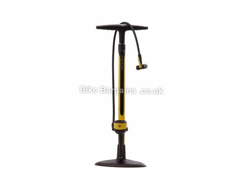 Topeak Joe Blow Sport II Track Pump 120psi, Presta, Schrader, Yellow, Black, 1.6kg