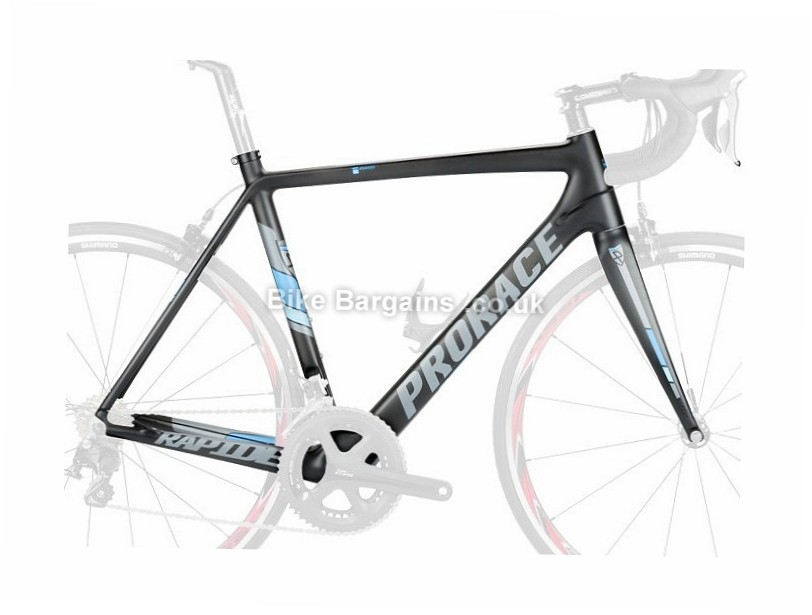 Prorace Rapide Carbon Road Frame and Forks inc headset, 49cm, 52cm, black, blue