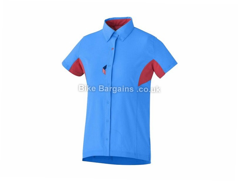 Shimano Ladies Button Up Casual Shirt L, XL are extra, Blue, Red