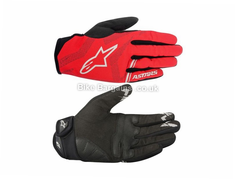 Alpinestars Stratus MTB Full Finger Gloves S, Black, Blue, Red, Silver, Yellow, Full Finger, Fleece, Velcro