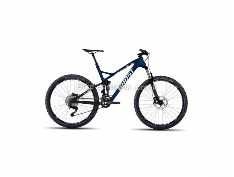 "Ghost SL AMR LC 4 27.5"" Carbon Full Suspension Mountain Bike 2016 19"", 27.5"", Blue, White, 20 Speed, Carbon"