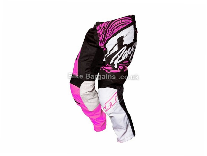 "JT Racing Flex Youth Victory DH MTB Pants 26"", Black, Pink, Green, White"