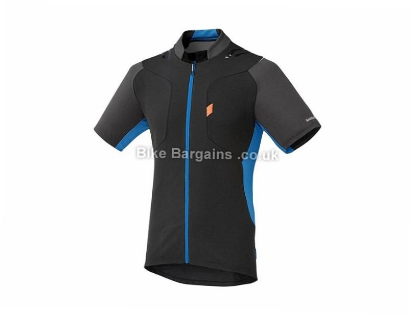 Shimano Explorer Short Sleeve Jersey XL, Black, Blue, Orange