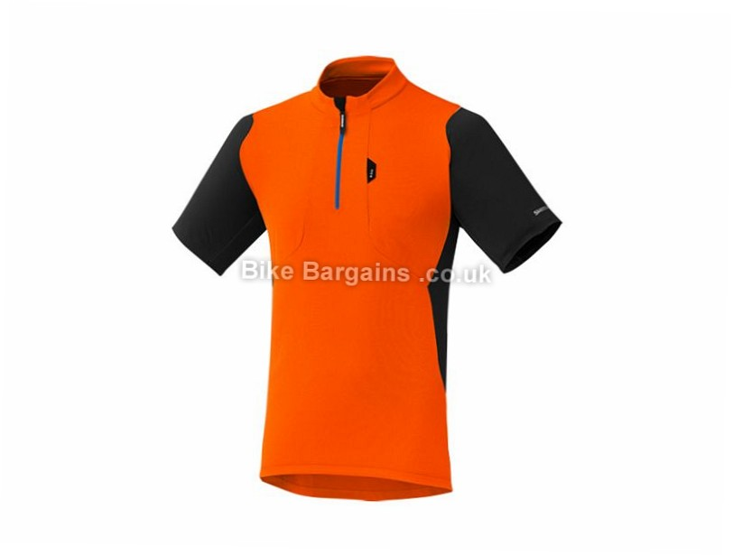 Shimano Touring Short Sleeve Jersey L, Blue, Orange, Black
