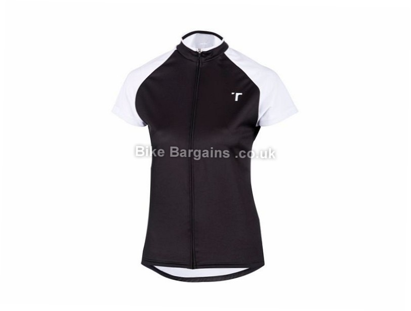 oneten Ladies Short Sleeve Zip Jersey XL, Black, White