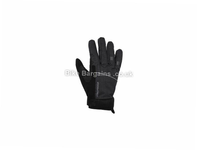 FWE Ladies Kennington Windproof Full Finger Gloves M,L,XL, Black, Full Finger, Fleece, Gel