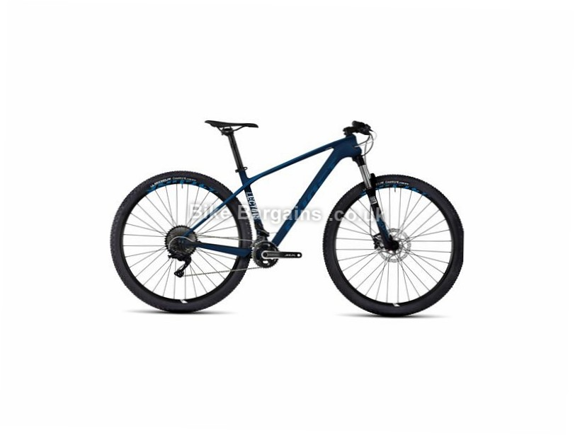 """Ghost Lector 1 29"""" Carbon Hardtail Mountain Bike 2017 29"""", 16"""", Blue, White, 22 Speed, Carbon, 100mm"""