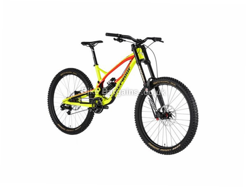 "Nukeproof Pulse Comp DH Custom Build 27.5"" Alloy Full Suspension Mountain Bike 2017 27.5"", 16"", Yellow, Red, 10 Speed, Alloy,"