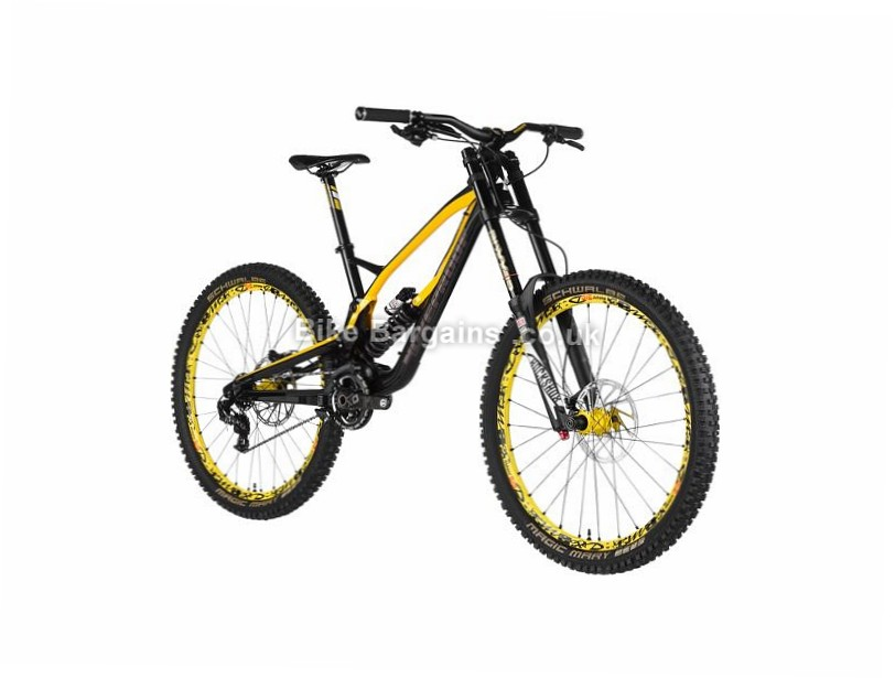 "Nukeproof Pulse Team DH Custom Build Full Suspension Mountain Bike 16"", 27.5"", Blue, Yellow, 7 Speed, Alloy"
