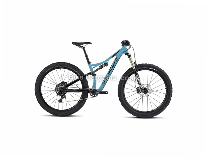 "Specialized Rhyme FSR Comp 6Fattie 27.5"" Alloy Full Suspension Fat Mountain Bike 2017 M, Blue, Black"