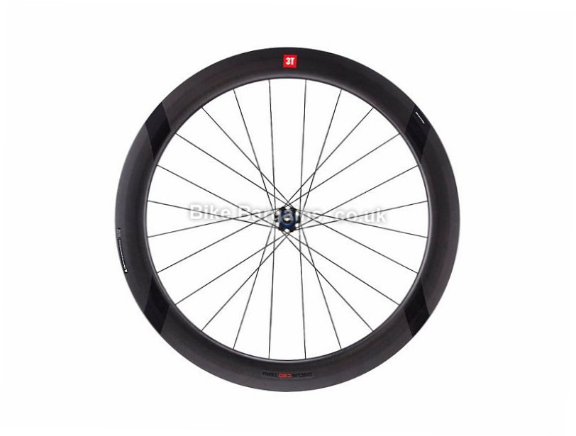 3T Discus C60 Team Stealth Carbon Front Road Wheel Shimano, 700c, Black, 9, 10, 11 Speed