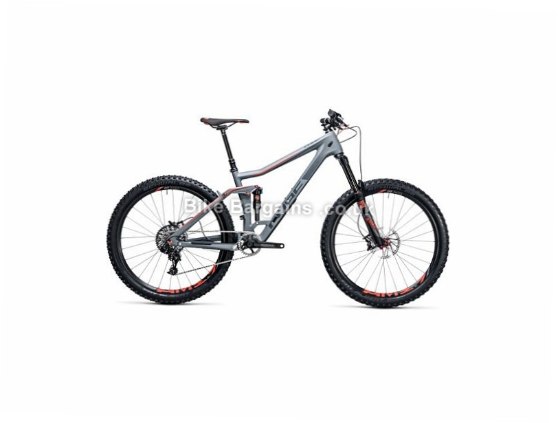 """Cube Stereo 160 C:62 SL 27.5"""" Carbon Full Suspension Mountain Bike 2017 27.5"""", 20"""", Grey, Red, 11 Speed, Carbon, 160mm"""