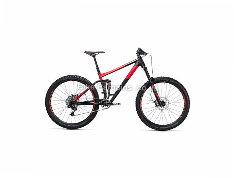 "Cube Stereo 160 HPA Race 27.5"" Alloy Full Suspension Mountain Bike 2017 27.5"", 16"", Black, Red, 11 Speed, Alloy, 160mm"