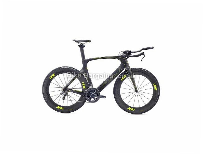 Fuji Norcom Straight 1.3 Carbon Triathlon Bike 2017 53cm, Black, Yellow, Carbon, Calipers, 11 speed, 700c, 8.94kg