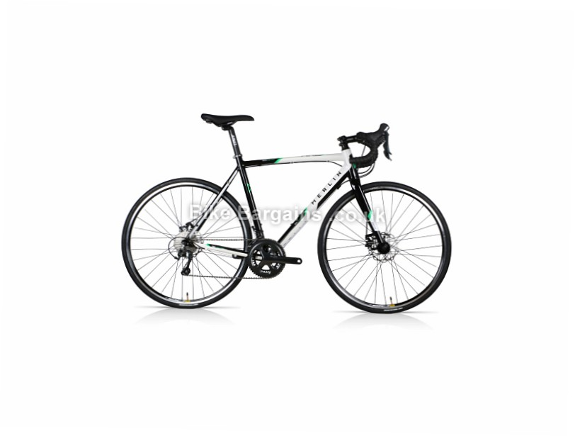 Merlin Axe7 Disc Alloy Tiagra Road Bike with Shoes and Pedals 50cm,53cm,56cm,59cm, Black, White, Alloy, Disc, 10 speed, 700c